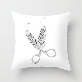 Feather scissor Throw Pillow