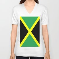 jamaica V-neck T-shirts featuring Jamaica Flag by Barrier Style & Design