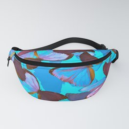 Shiny Blue And Pink Butterflies On A Turquoise Background #decor #society6 #pivivikstrm Fanny Pack