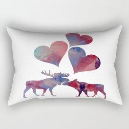 Moose love art Rectangular Pillow