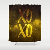 xoxo Shower Curtains featuring XOXO by cat&wolf