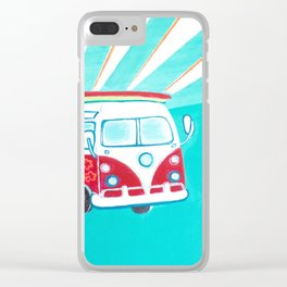 Surfer Sunrise Clear iPhone Case
