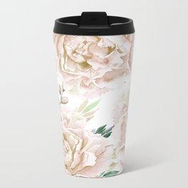 Pretty Blush Pink Roses Flower Garden Metal Travel Mug