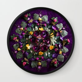 May Flowers Mandala Wall Clock