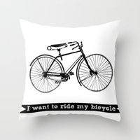 bicycle Throw Pillows featuring bicycle by Beverly LeFevre