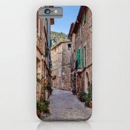 Narrow street in Valldemossa village - Mallorca, Spain iPhone Case