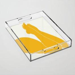 Nude in yellow 3 Acrylic Tray