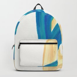 Vanilla in the Leaves 1 - Abstract painting in modern bright blue, cream and soft yellow Backpack