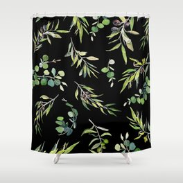 Eucalyptus and Olive Pattern  Shower Curtain