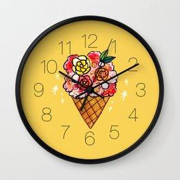 Watercolor - Strawberry Yogurt Ice Cream Cone Wall Clock