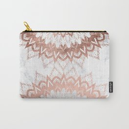 Modern chic rose gold floral mandala illustration on trendy white marble Carry-All Pouch