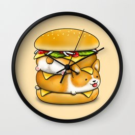 Double Corgi Pounder Wall Clock