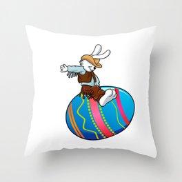 cowboy bunny riding a easter egg Throw Pillow