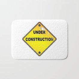 Yellow Under Construction Sign Bath Mat