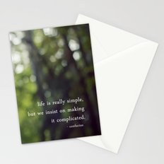 confucius say: life is simple Stationery Cards
