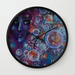 """""""Butterfly wings"""" an original painting on canvas by Katrina Koltes Wall Clock"""