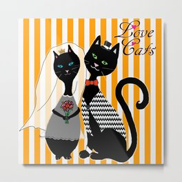 Love Cats Wedding Metal Print