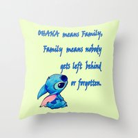 lilo and stitch Throw Pillows featuring Lilo & Stitch - Ohana Quote by MarcoMellark