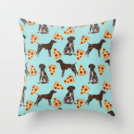 German Shorthair Pointer dog breed pet art pizza slices pattern design by pet friendly dog lovers Throw Pillow