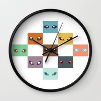 eevee Wall Clocks featuring Eyes of Eevee by Casey Sawyer