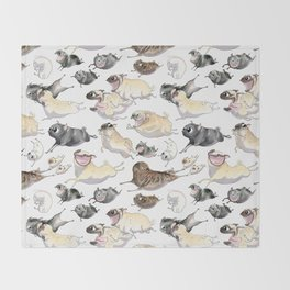 Pugs on the Move Throw Blanket