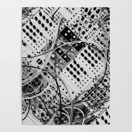 analog synthesizer  - diagonal black and white illustration Poster
