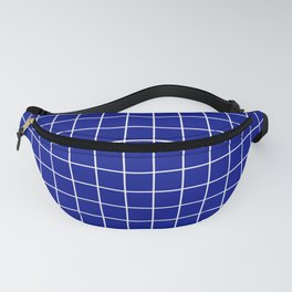 Phthalo blue - blue color -  White Lines Grid Pattern Fanny Pack