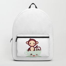 Cute Kawai pink cup with brown monkey Backpack