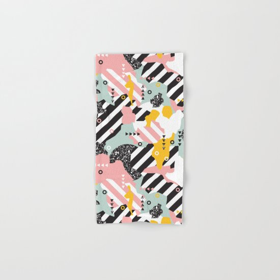 Spliced Geometric Memphis Pattern Geo Stripes Hand & Bath Towel