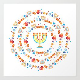 Happy Hanukkah Holiday Pattern Art Print