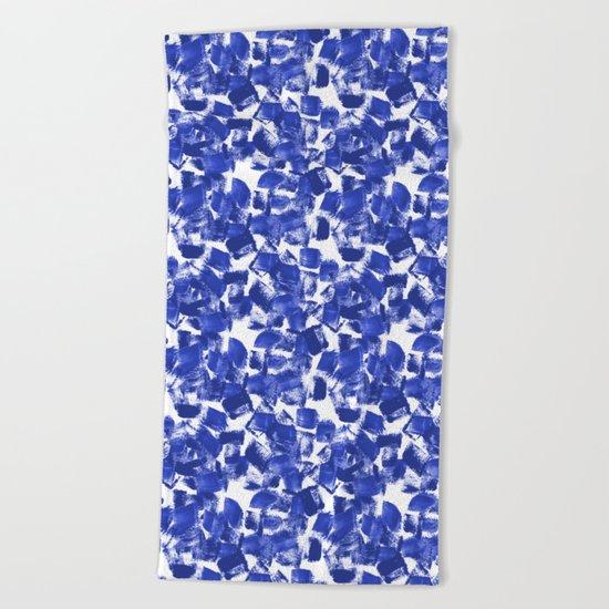 Azia - bright blue painterly abstract brushstrokes painting trendy minimal modern monochrome indigo Beach Towel