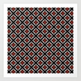 Earthy Red, Black and White Digital Pattern Art Print