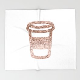 Sparkling rose gold coffee cup Throw Blanket