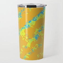 orange yellow and blue painting abstract background Travel Mug