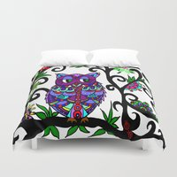 murakami Duvet Covers featuring All Happy Owl by Marcy Murakami