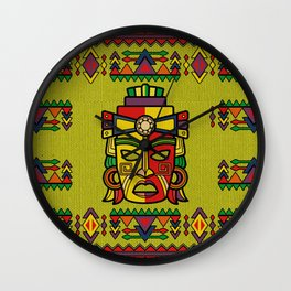 Colorful Aztec Inca Mayan Mask Wall Clock