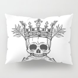 Skull Prince with crown and arrows. King with crown in monochrome style Pillow Sham