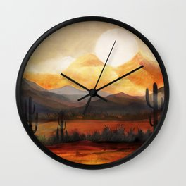 Desert in the Golden Sun Glow Wall Clock