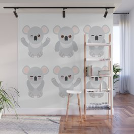 Funny cute koala set on white background Wall Mural