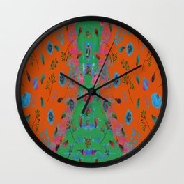orange speaks in floral tones Wall Clock