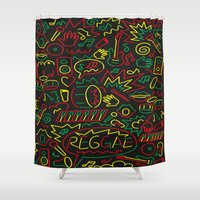 reggae Shower Curtains featuring Roots, Rock and Reggae by RespecttheQueenDecor