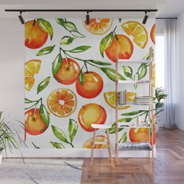 oranges watercolor tangerine fruit print Wall Mural