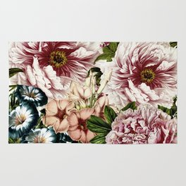 Vintage Peony and Ipomea Pattern - Smelling Dreams Rug