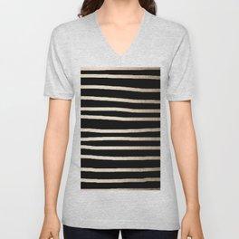 Simply Drawn Stripes White Gold Sands on Midnight Black Unisex V-Neck