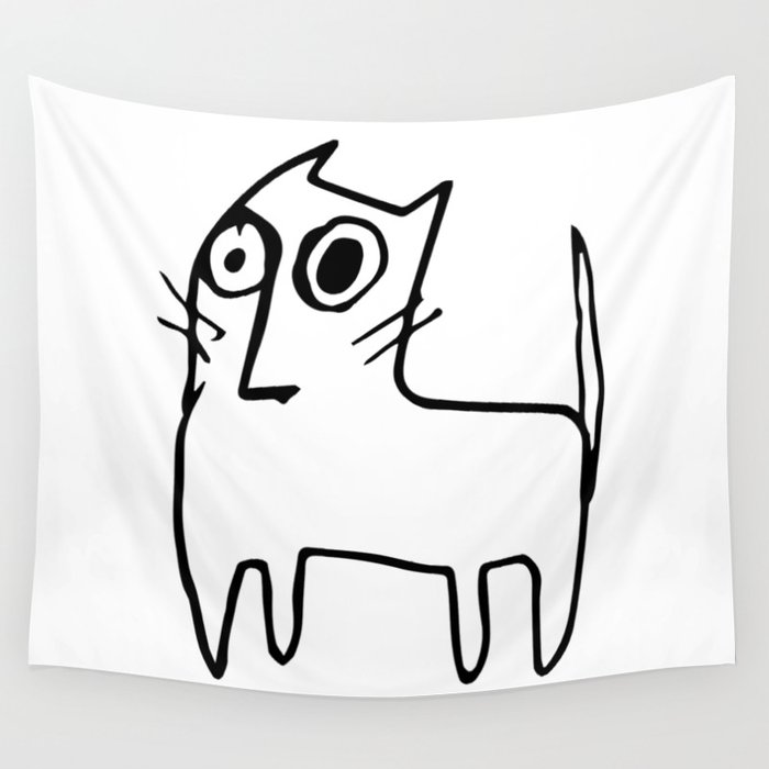 A mangy, miffed and slightly damaged cat Wall Tapestry