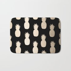 Gold Pineapples Pattern Black Bath Mat