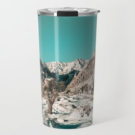 Vintage Cactus Snow & Mountains // Desert Landscape Photograph in the Mojave at Winter Red Rocks Travel Mug