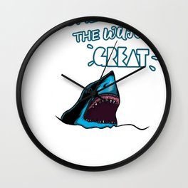 Come on in the water's great gift shark t-shirt Wall Clock