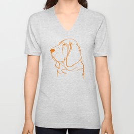 Bloodhound (Pale Yellow and Orange) Unisex V-Neck
