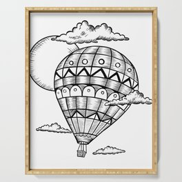 Vintage hot air balloon adventure t-shirt Serving Tray